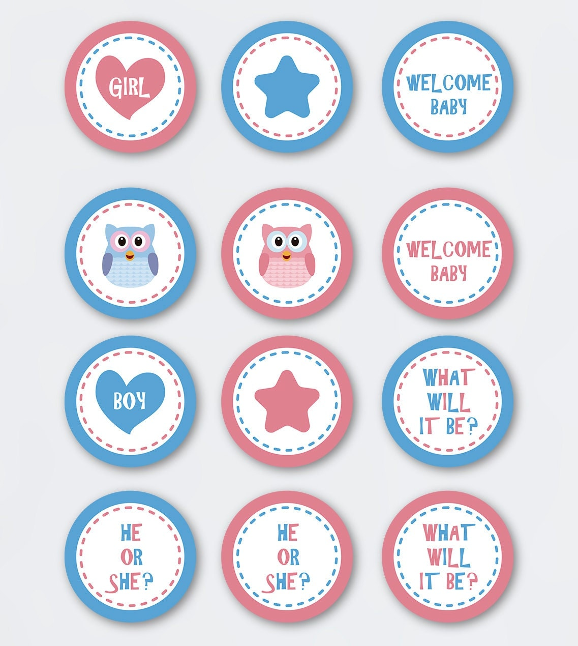 Instant Download Gender Reveal Owl Cupcake Topper Printable