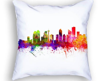 Calgary Pillow, Calgary Alberta, Calgary Canada, Calgary Skyline, Calgary Cityscape,18x18, Cushion, Home Decor, Gift Idea, Pillow Case 02