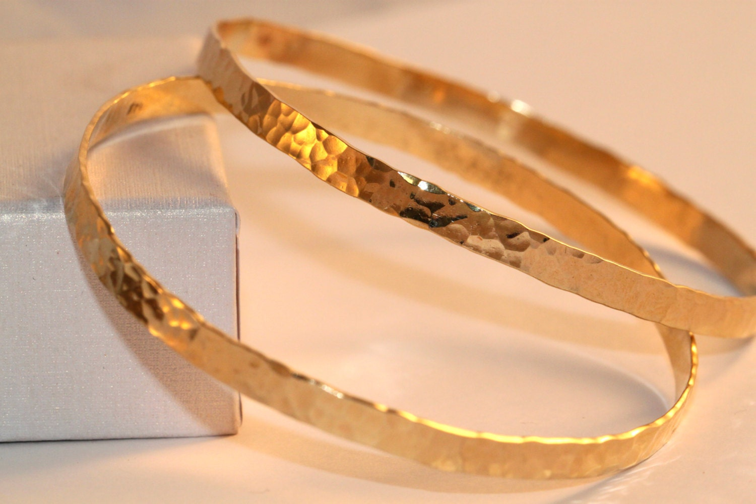 wedding gift hammered bangle 2 solid gold bangles by