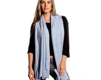 Powder Blue 100% Cashmere Wrap/Blue Cashmere Scarf