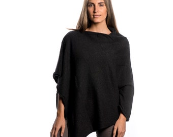 Charcoal Cashmere Poncho/Charcoal Grey 100% Cashmere Poncho