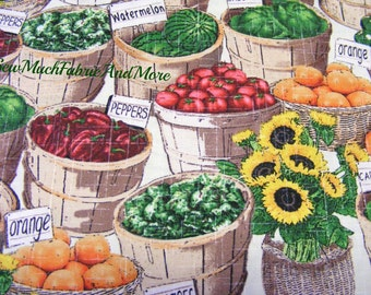 Baskets of fruit vegetables and sunflowers fabric~by the 1/2 yd~Farm Stand~Windham Fabrics~Cotton~Food