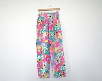 S A L E   80s 90s abstract neon pattern cotton summer festival pants / high waist / tapered leg