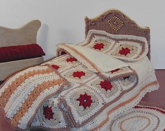 Crochet Fashion Doll Furniture Pattern- #375 ANTIQUE OAK BED & cover