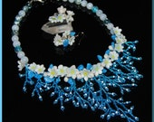 """Beaded set """"Night Flowers"""", FREE SHIPPING, handmade set, statement necklace, statement handmade necklace, flowers necklace, blue jewelry set"""