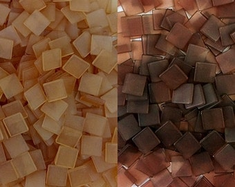 Resin mosaic tiles, 10x10 mm, Frosted effect, Mixed Brown