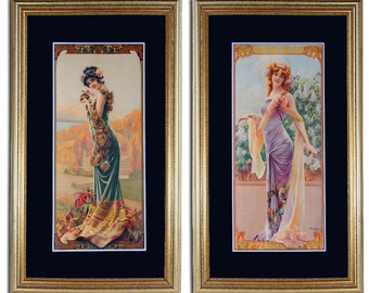 5015 Pair of Alphonse Mucha Illustrations printed by F. Champenois