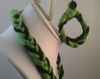 Lime green and black tshirt jewelry