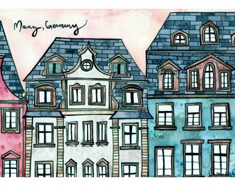MAINZ GERMANY Print 8x12 Ink and Watercolor Painting