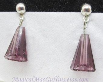 Swarovski Crystals Purple Bonjour Sweet Love Patisserie Cosplay Silver Earrings