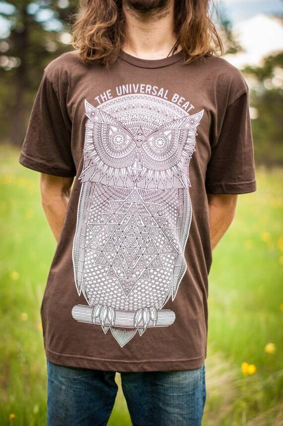 Owl T-Shirt—Organic USA Made, Sri Yantra T-Shirt, Visionary T-Shirt, Psychedelic Owl, Trippy Owl, Sacred Geometry Clothing, Spiritual, Mens