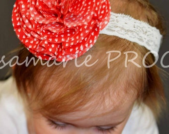 Red Heart and Lace Headband