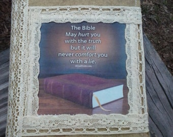 felt bible cover with KJV bible lacey country pretty