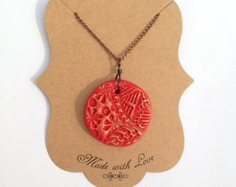 Bright Red Polymer Clay Pendant