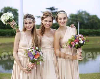 Bridesmaid Dress Infinity Dress Champagne Knee Length Wrap Convertible Dress Wedding Dress