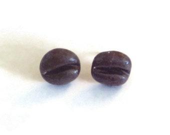 Coffee bean earrings Coffee lover gift Unusual earrings Different earrings Stud earrings Statement earrings