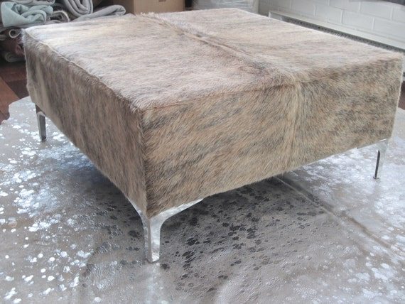 Fantastic New Cowhide Cube Ottoman Coffee By Gauchocollection
