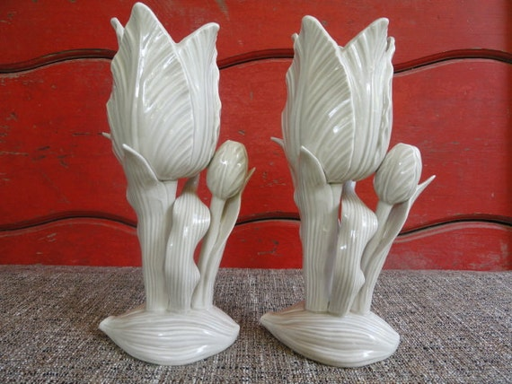 Fitz And Floyd Ceramic Candlestick Holders Pair White