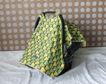 Baby Car Seat Cover/Canopy -Green & Yellow Pears on yellow Minky