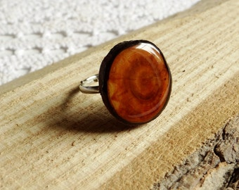 Wooden ring, natural wood gem, unique gift,  wood jewelry, eco friendly ring (0167)