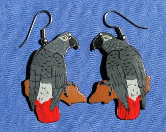 African Grey Handpainted Earrings