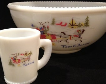 Tom and Jerry Milk Glass Winter Scene Punch Bowl with 5 Cups by McKee
