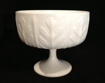 F.T.D Milk Glass Compote with Leaf Design