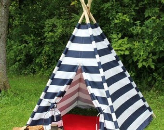 Blue and White Stripe Teepee, Kids Play Tent, Fort, Childs Foldaway Teepee with Wood Poles