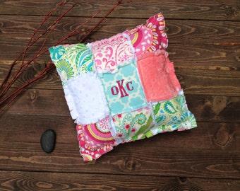Kumari Garden Personalized Monogrammed Rag Quilt Pillow - Nursery Decor - Baby Girl Crib Bedding