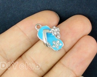 5pcs of Blue Flip Flop with Rhinestone Charms pendants 3D 20x13x6mm