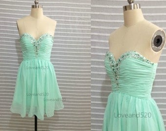 Mint Short Prom Dress,Mint Bridesmaid Dress,Mint Formal Dress,Ming Chiffon Dress,Sparking Prom Dress