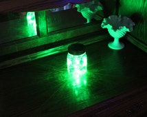 Set of 12 Mason Jar Solar Lid Angel Lights Firefly Lights - Green Light
