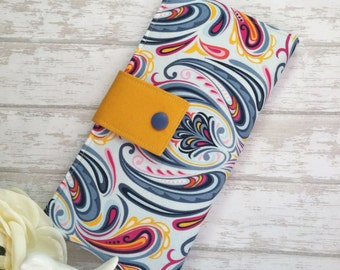 Abstract Brights wallet, Womens wallet, bifold wallet, clutch wallet, handmade fabric wallet, credit card wallet, bill coin coupon wallet