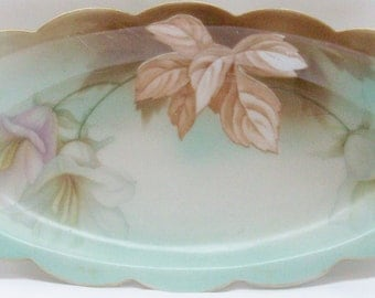 Vintage RS Germany Subtle Floral Porcelain Relish Tray China Celery Dish - Free Shipping USA