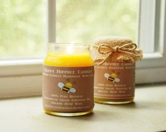 4 OZ Organic Candle Handmade with 100% unbleached beeswax, essential oils & organic hemp wick in a BPA-free jar