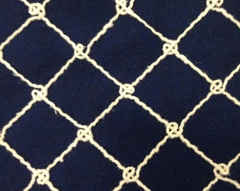 Navy Nautical Rope Upholstery Fabric By The Yard - Coastal Fabric - Beach Decor