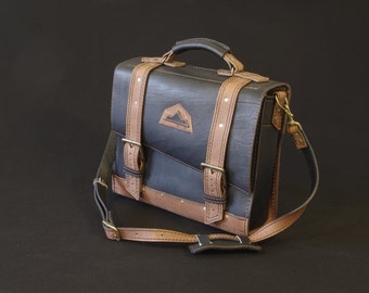 schoolbag, bag, messenger, shoulder strap bag, weekender bag, briefcase, bag, leather computer door black and brown