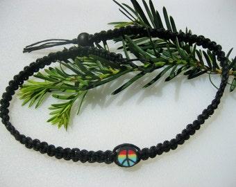 Black Hemp Choker/Necklace - Peace Symbol - Black Hemp Anklet/Bracelet - Unisex Hemp Jewelry