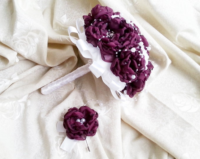 READY to SHIP White blackberry purple silver Fabric Bouquet winter Wedding Bridal Bouquet with Pearls handmade flowers brooches cotton lace