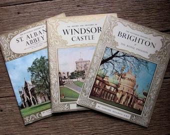 1950s 3 x PICTORIAL HISTORY Souvenir Booklets Brighton Windsor Castle St Albans Abbey Vintage Books