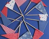 USA 4th of July/ Summertime Picnic Flag Cupcake Picks