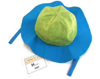 Children's SUNHAT in Blue and Green with Chin Strap