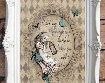 ALICE in Wonderland Quote Art Print. Shabby Chic Decor Vintage Alice Wall Art Vintage Book ALICE in WONDERLAND Print Alice Decor. Code:A003