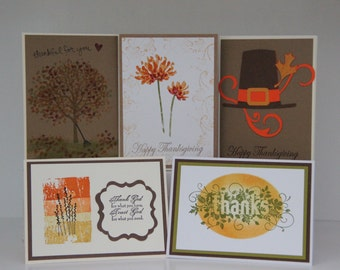 Handmade Thanksgiving Cards.  Pilgrim Card.  Fall Mum Flower Cards.  Autumn Tree Card. Thanksgiving Thank You Cards. Thanksgiving Card Set
