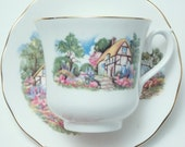 Queen Anne Scenic House Cottage Garden Scene Tea Cup and Saucer Vintage Fine Bone China Made in England