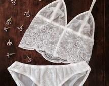Ivory Lace Lingerie Set. Handmade by Nahina