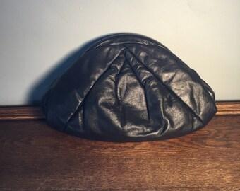 Vintage Black Leather Clutch/Shoulder Strap Purse