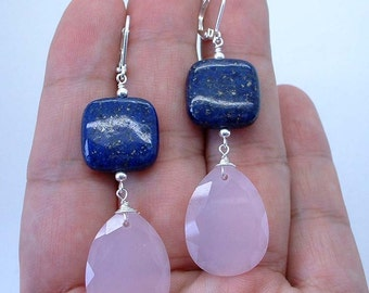 NovaDesign Dangling Rose Quartz W. Blue Lapis Lazuli Sterling Silver Earrings --- Leverbacks