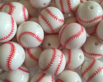 Baseball 20mm Beads- 10pc Chunky Bubblegum Beads