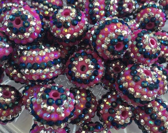 Hot pink- Navy Blue- Silver 20mm Striped Rhinestone Beads - 10pc Chunky Bubblegum Beads